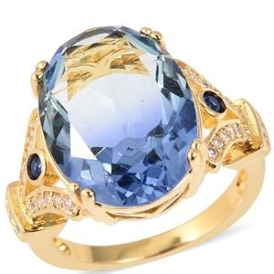 Simulated Blue and White Diamond Ring